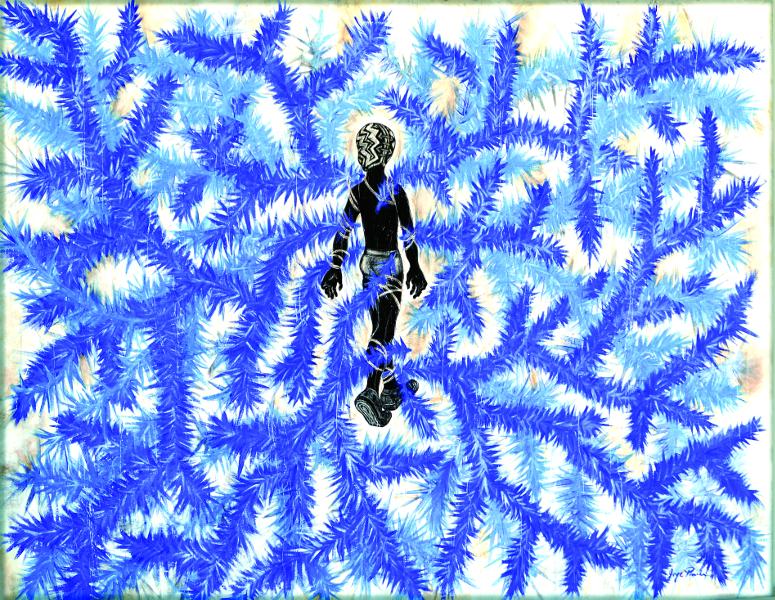 Jorge Pineda: la pratique de l'utopie : Jorge Pineda, Jugar en el bosque I - Jouer dans les bois I. Peinture acrylique sur toile ; 121.5 cm x 152 cm ; 2014 ; Collection de l'artiste. Dr