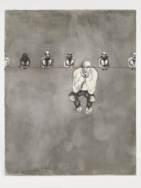 Khaled Takreti. Les grands enfants : Khaled Takreti La Ligne Rouge, encre sur papier, 110x140 cm, 2007-2008 ©Khaled Takreti