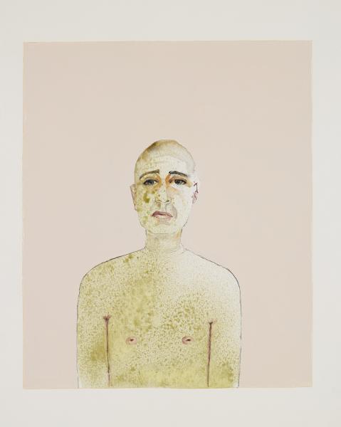 Khaled Takreti. Les grands enfants : Khaled Takreti Autoportrait, aquarelle et gouache sur papier, 50x65cm, 2007-2008 © Khaled Takreti