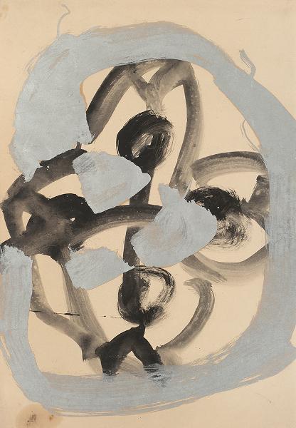 Kimber Smith. Oeuvres sur papier, 1957-1975 : Kimber Smith Paris (41), 1957 Encre et peinture Ripolin sur papier 47,5 x 32 cm © Alberto Ricci, Courtesy Galerie Jean Fournier, Paris