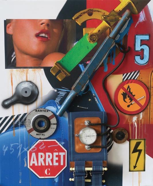 Klasen : Tensiomètre / Arrêt / C. 2020, acrylique et objets sur toile, 61 x 50 cm.