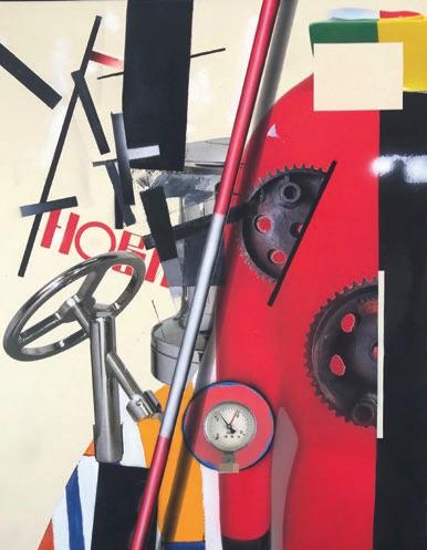 Klasen : Hommage à Malevitch / Volant / Cadran / Les sportifs. 2017, acrylique et technique mixte sur toile, 92 x 73 cm.