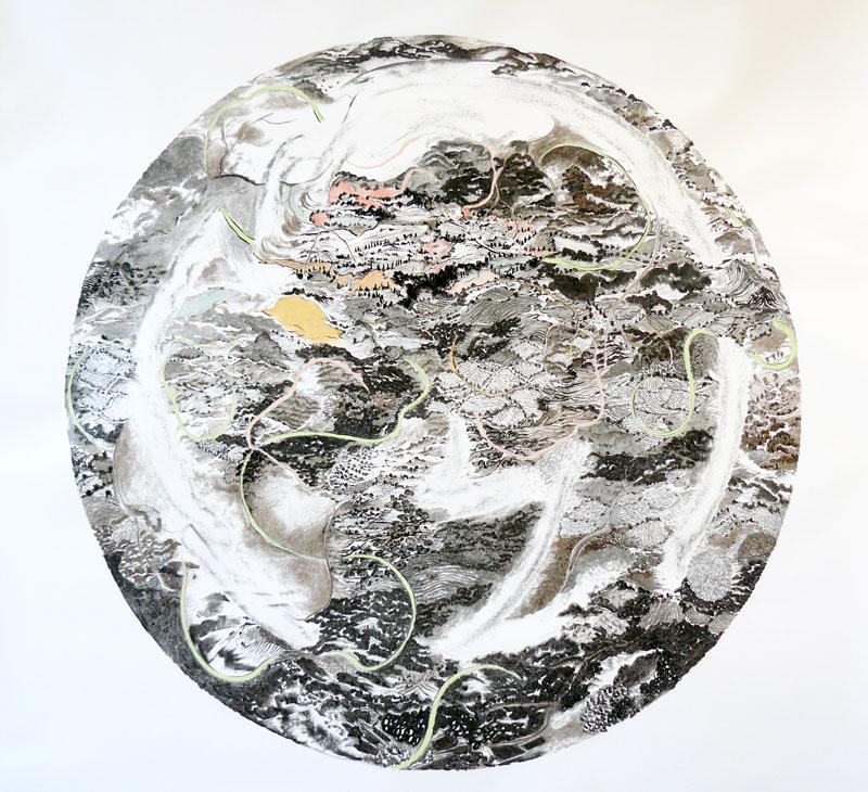 Françoise Vergier - Je suis une montagne : La terre des paysans, 2007, dessin fusain, pastel, 132 x 132 cm