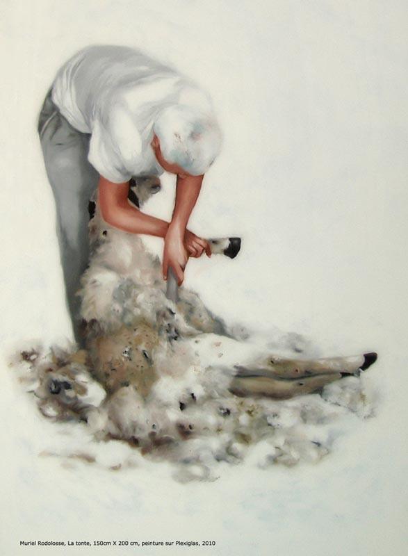 Muriel Rodolosse. X degrés de déplacement : no Taxinomi(e),  2006 Peinture sur Plexiglas, 132 x 100 cm  © Muriel Rodolosse