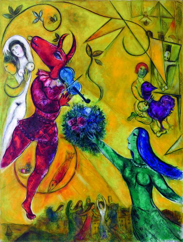 Chagall – Entre guerre et paix : La Danse, Chagall, 1950-1952 238 x 176 cm huile sur toile de lin Paris, Centre Georges Pompidou, Musée national d