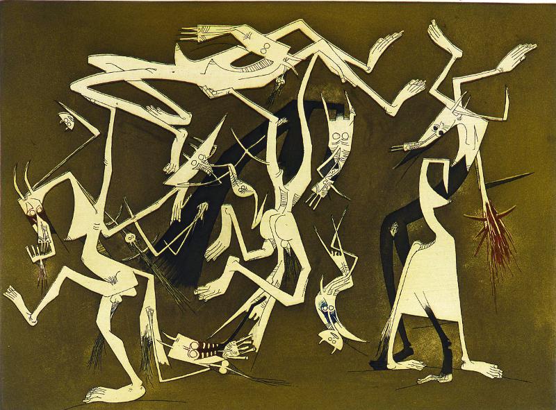 Aimé Césaire, Lam, Picasso. « Nous nous sommes trouvés » : Wifredo Lam – rabordaille 1969-1982, Eau-forte et aquatinte, 49 x 65 cm Collection privée, Paris © ADAGP Paris 2013
