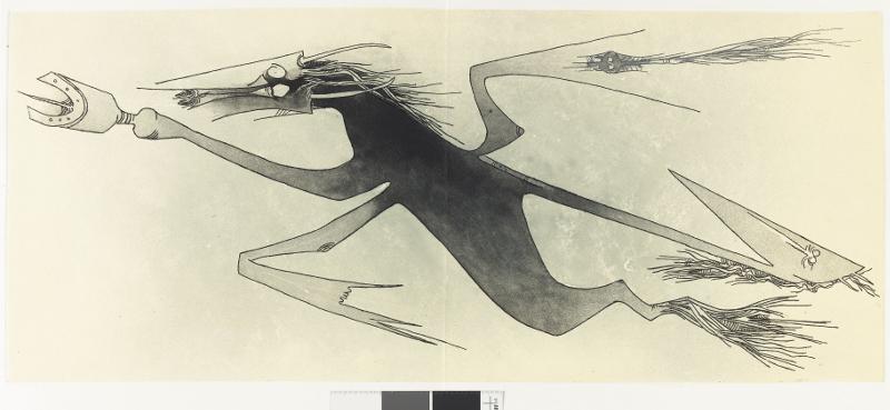 Wifredo Lam : Apostroph' Apocalypse, 1966 Plate XIV Etching and aquatint on paper, 31 × 73 cm Private collection, Paris Photo: Centre Pompidou, Bertrand Prévost © Adagp, Paris 2015