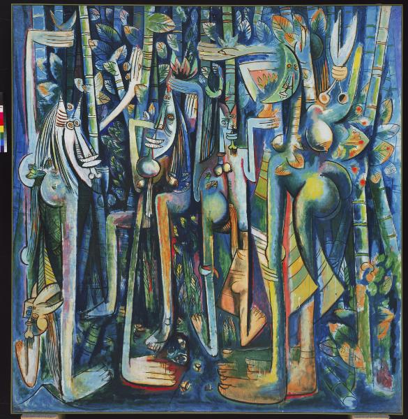 Wifredo Lam : La Jungla, 1943 Oil on paper mounted on canvas – 239.4 × 229.9 cm Museum of Modern Art, New York, 2015. Digital Imag, Museum of Modern Art, New York/Scala, Florence © Adagp, Paris 2015