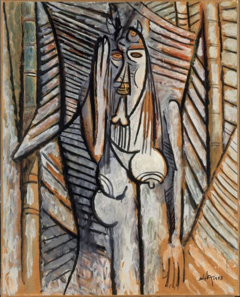 Wifredo Lam : Le Bruit, 1943 Oil on paper mounted on canvas, 105 × 84 cm Centre Pompidou, Musée National d'Art Moderne, MNAM-CCI / Dist. RMN-GP. Dation 1985 Photo: Raphaël Chipault and Benjamin Soligny. © Adagp, Paris 2015