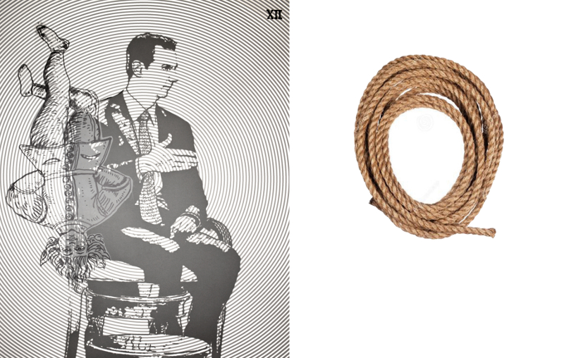 Mohamed Lekleti - Esprit éclairé, Esprit libre : Mohamed  Lekleti. Le Pendu, technique mixte sur papier plus corde - diptyque 150 x 240 cm