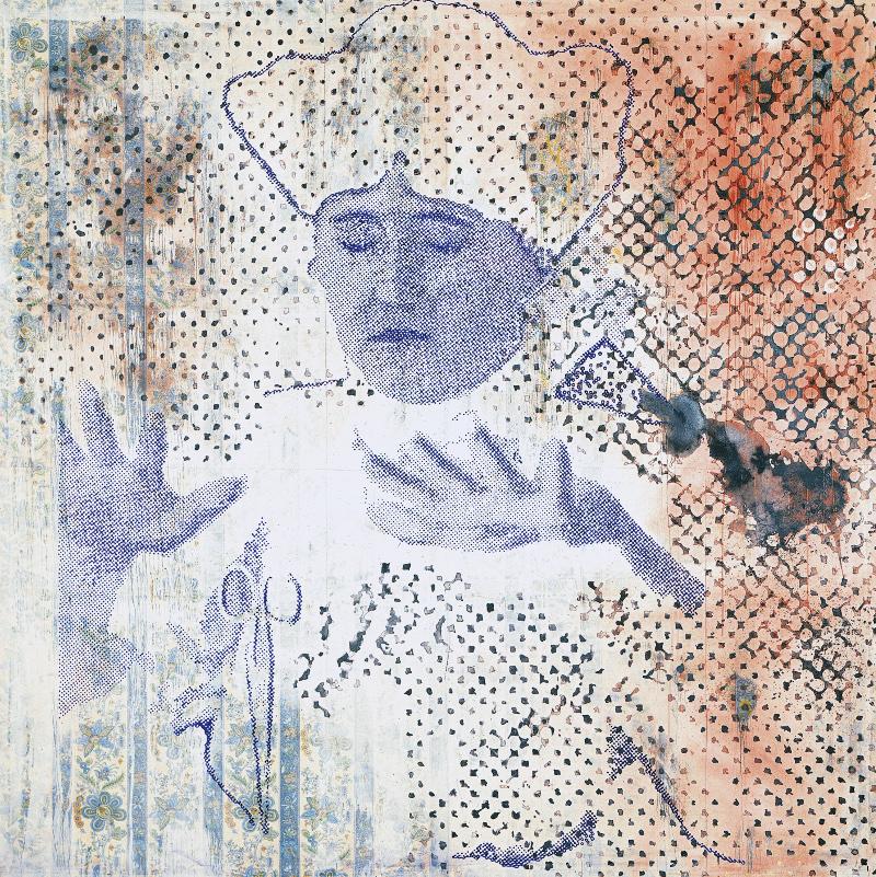 Sigmar Polke : Les Ciseaux, 1982-Dispersion et mica ferreux sur tissu d'ameublement 290x290cm.Collection particulière.Photo : Wolfgang Morell©The Estate of Sigmar Polke/ADAGP