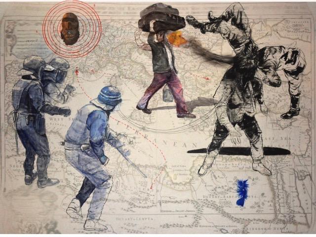 Mohamed Lekleti-Khamsa : Lignes de démarcation, 2018. Technique mixte sur papier marouflé sur bois- 130x160