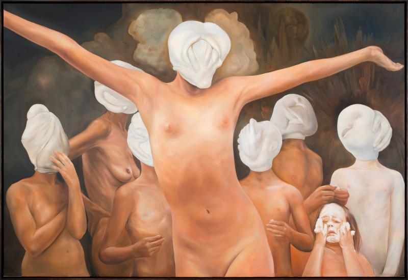Mademoiselle : Oda Jaune. Sans titre. 2017, huile sur toile, 190 x 280 cm. Courtesy galerie Templon, Paris/Bruxelles.