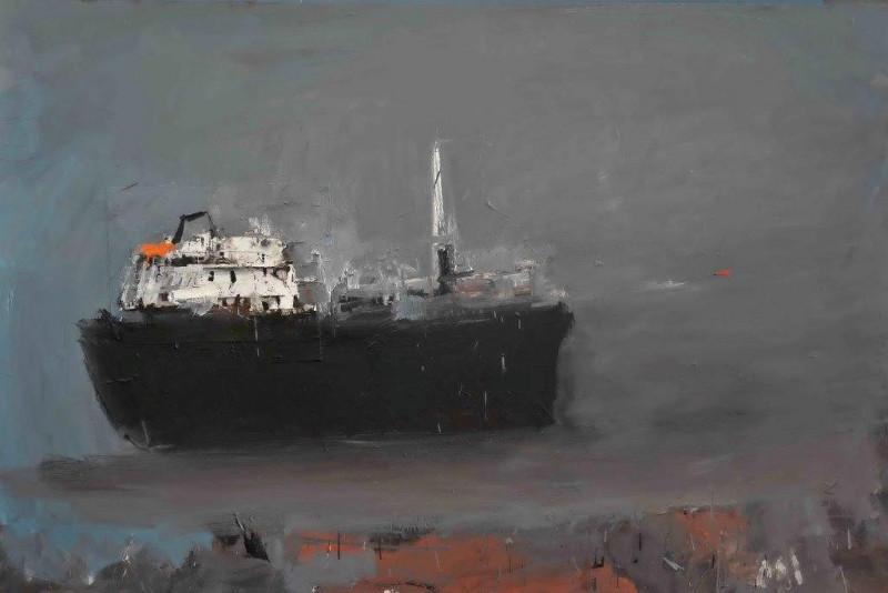 Al Aswadi, Bartoli, Leclercq & Markantonakis : Yannis Markantonakis. Cargo noir. Huile sur toile. Courtesy l'artiste et la galerie Patrick Bartoli, Marseille.