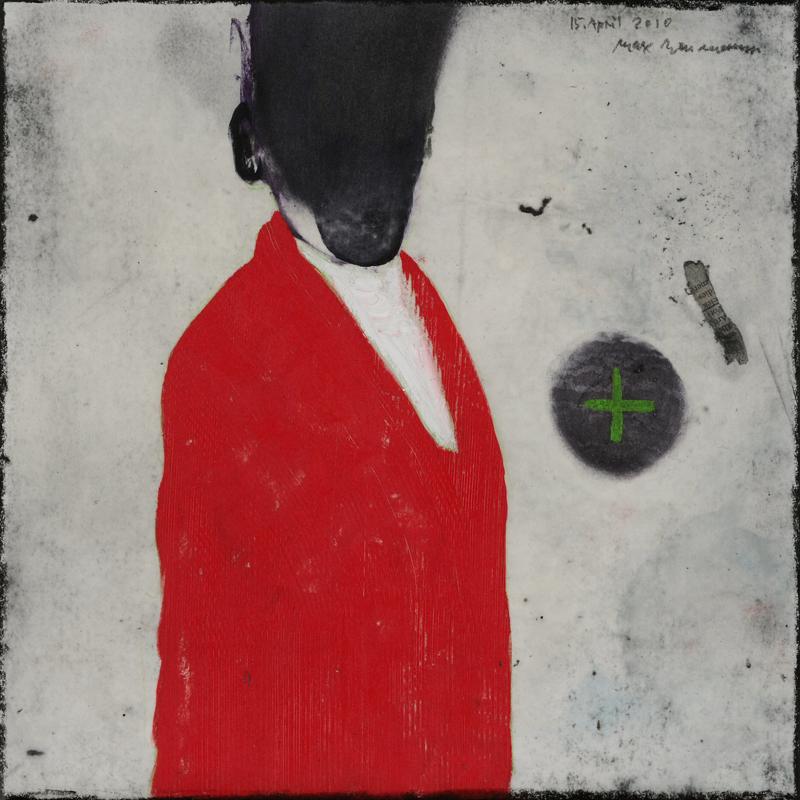 Max Neumann : Sans titre, 15 avril 2010, cire, huile, crayon, acrylique sur papier, 30 x 30 cm