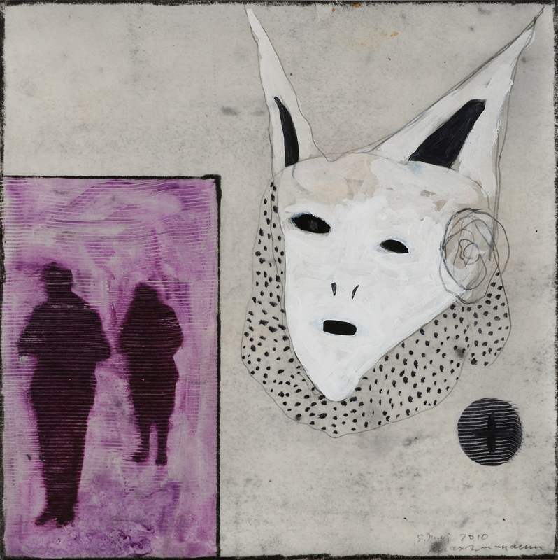 Max Neumann : Sans titre, 5 juin 2010, cire, huile, crayon, acrylique sur papier, 30 x 30 cm