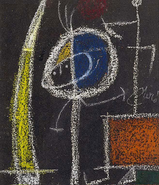 Miró sculpteur : Personnages, Fusain, Craie et Pastel sur papier de verre, 1977 - 25,5 x 21 cm. © ADAGP Paris 2010 © Archives Fondation Maeght, Saint Paul