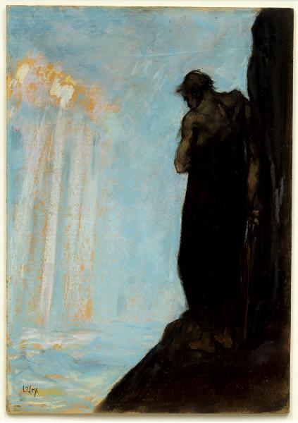 Moïse – Figures d'un prophète : Lesser Ury, Moïse regarde la Terre promise avant sa mort 1928 Pastel sur carton Berlin, Jüdisches Museum © Jüdisches Museum Berlin / Jens Ziehe