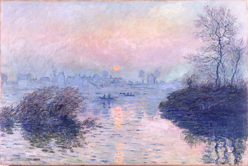 Révélations : Une odyssée numérique dans la peinture. : Claude Monet, Soleil couchant sur la Seine à Lavacourt, © Petit Palais Roger Viollet