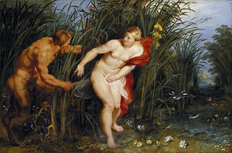 Rubens et son héritage : Peter Paul Rubens. Pan and Syrinx, 1617 Oil on panel 40 x 61 cm Staatliche Museen, © Kassel Photo Ute Brunzel