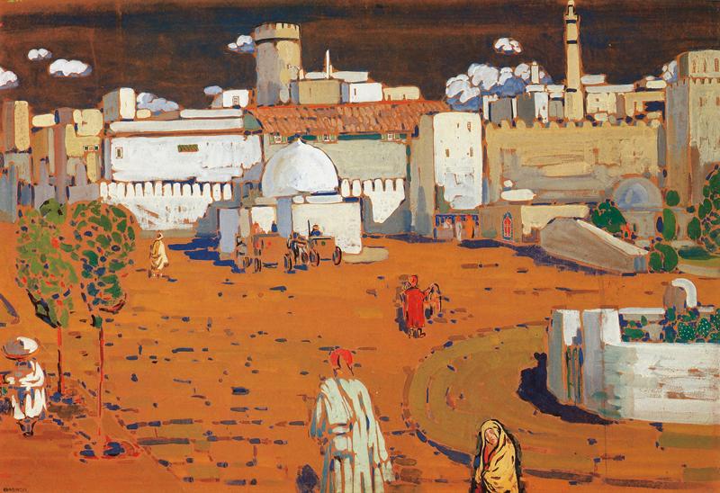 L'orientalisme en Europe : de Delacroix à Matisse : Wassily Kandinsky. Ville arabe. 1905, tempera sur carton, 67,3 x 99 cm. Centre Pompidou – Musée national d'art moderne / centre de création industrielle, Paris.