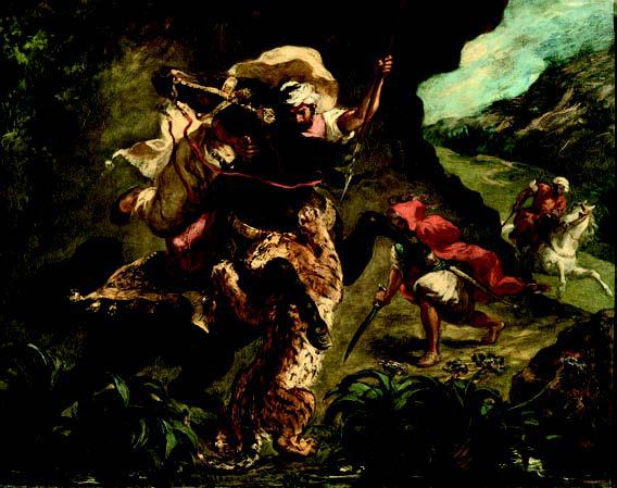 L'orientalisme en Europe : de Delacroix à Matisse : Eugène Delacroix. Chasse au tigre. 1854, huile sur toile, 73 x 92 cm. Musée d'Orsay, Paris.