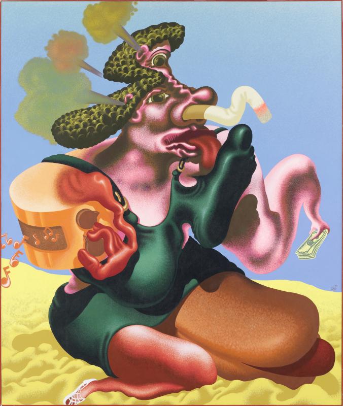 Peter Saul. Pop, Funk, Bad Painting and More : Peter Saul, Woman Smoking, 1984, collection musée de l'Abbaye Sainte-Croix, les Sables d'Olonne, huile et acrylique sur toile, 216 x 192 cm ©Peter Saul ; photogr. Hugo Maertens