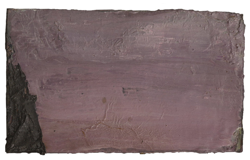 Pierre Tal-Coat (peintre), Henri Maldiney (philosophe), André du Bouchet (poète) - La Triade : Tal-Coat. Sans titre. 1981-1982,  huile sur carton d'aggloméré, 22,5x16 cm. Collection particulière.