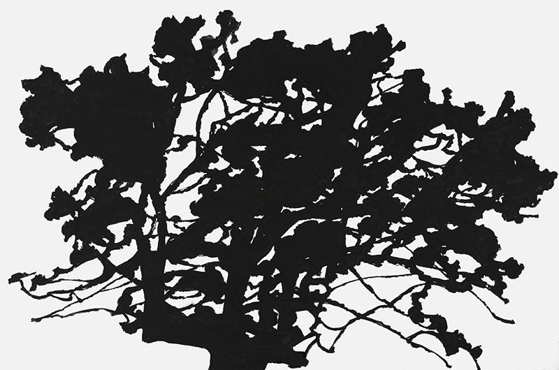 Alexandre Hollan. Questions aux arbres d'ici : Alexandre Hollan, Le Déchêné, grand chêne, 2012 Acrylique sur toile, © Galerie Marie Hélène de La Forest Divonne© photo Illès Sarkantyu ©  ADAGP Paris 2016