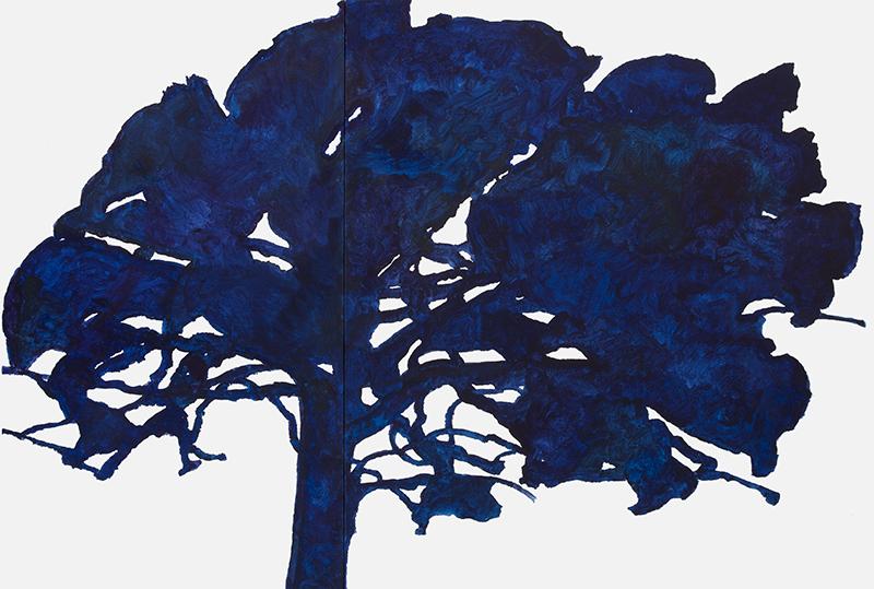 Alexandre Hollan. Questions aux arbres d'ici : Alexandre Hollan, Garde de Saint-Jean-d'Aumières, grandchêne, 2015-2016 Acrylique sur toile, © photo Illès Sarkantyu ©  ADAGP Paris 2016