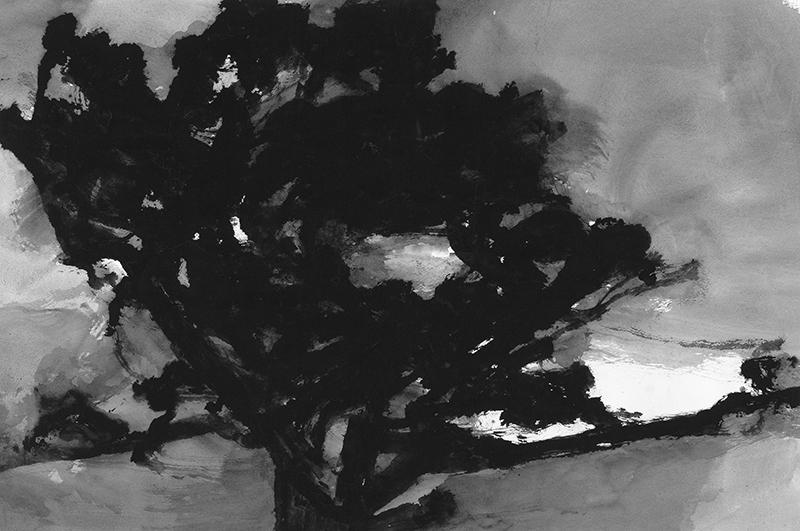 Alexandre Hollan. Questions aux arbres d'ici : Alexandre Hollan, Grand chêne sur le plateau de Viols-le-Fortavant l'orage, 2009 Gouache, © Galerie Marie Hélène de La Forest Divonne© photo Illès Sarkantyu ©  ADAGP Paris 2016