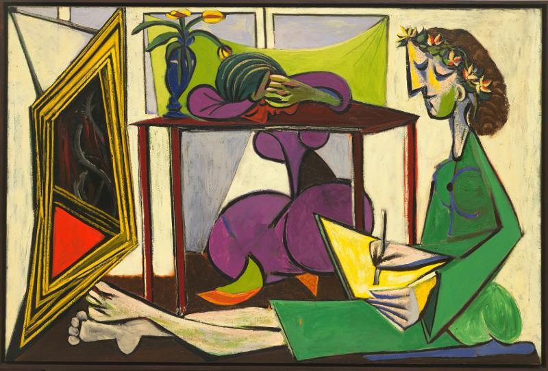 Olga Picasso : Pablo Picasso, Interieur avec femme dessinant, 1935