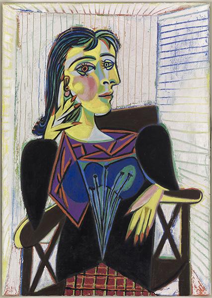 Picasso au musée Soulages : Pablo PICASSO, Portrait de Dora Maar, 1937 Peinture, huile sur toile, 92x65, Dation 1979 n° inv : MP158 Musée Picasso, Paris © Succession Picasso 2016