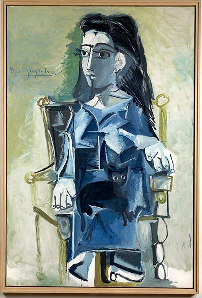 Picasso au musée Soulages : Pablo PICASSO, Nature morte à la pastèque, 1946, Peinture oléorésineuse sur contreplaqué, 95 x 175 cm, MPA 1946.1.21, Musée Picasso, Antibes. Photo © imagesArt, Claude Germain. © Succession Picasso 2016.