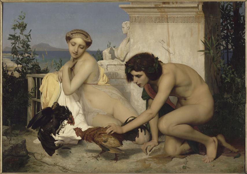 La lyre d'ivoire, Henry-Pierre Picou (1824-1895), et les Néo-grecs : Jean-Léon Gérôme (1824-1904), Le Combat de Coqs, 1846, huile sur toile, 143 x 204, Musée d'Orsay, Paris