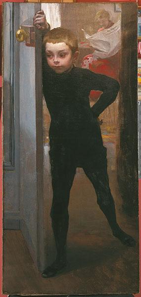 Albert Besnard. Modernités Belle Époque : Albert Besnard, Portrait de Jean Besnard, vers 1896. Huile sur toile, 131 x 61 cm. Collection particulière © Photo galerie Philippe Heim