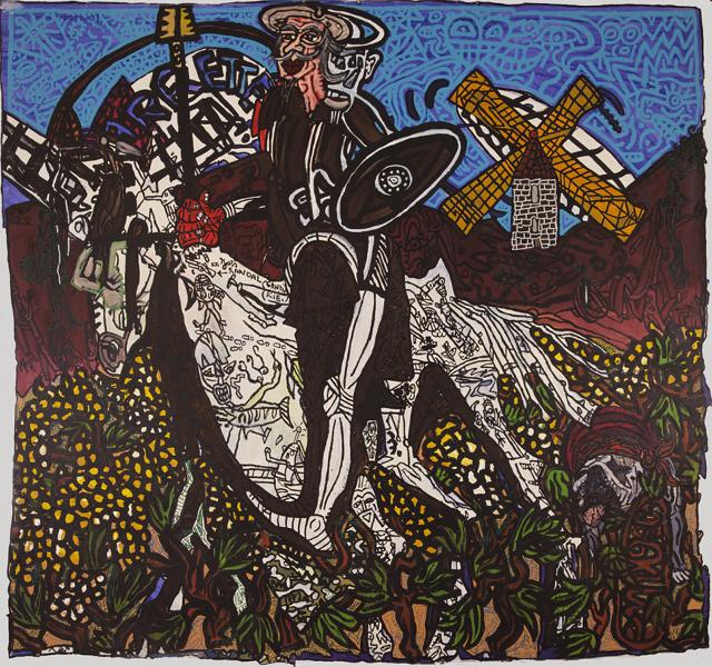 Le Parcours d'art contemporain de Carcassonne : Robert COMBAS - Don Quichotte - Acrylique sur toile - l. 200 x h. 220 cm - 1996