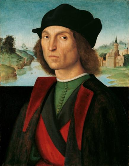 Les Collections du prince de Liechtenstein. :  Raphaël (1483-1520), Portrait d'un homme, vers 1502/1504 - Huile sur toile, 47,5 x 24,8 cm - © LIECHTENSTEIN. The Princely Collections, Vaduz–Vienna