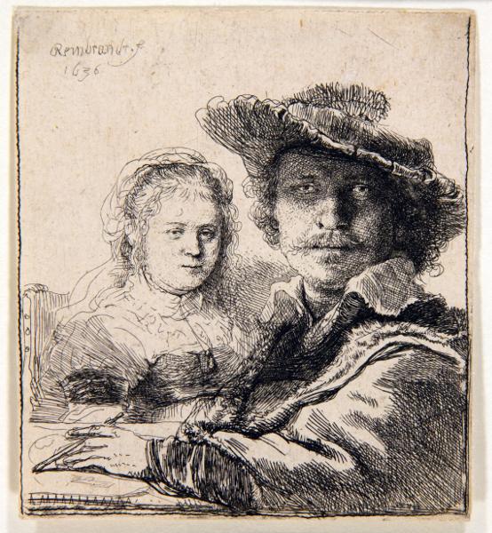 Rembrandt en noir & blanc : Rembrandt and his wife Saskia (1636) © Stichting Rembrandt op Reis
