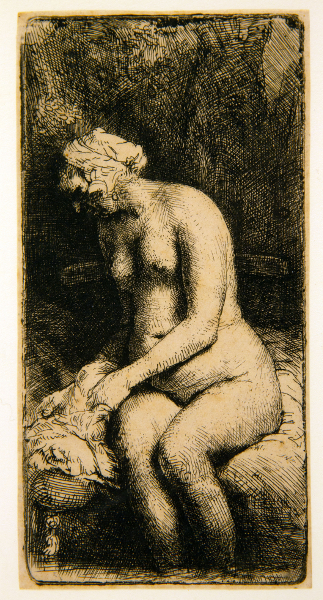 Rembrandt en noir & blanc : Woman bathing her feet at a brook  © Stichting Rembrandt op Reis