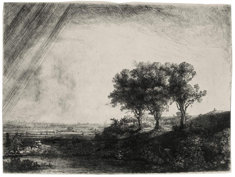 Rembrandt en noir & blanc : The three trees 1643 42x47cm, Etching, drypoint andburin