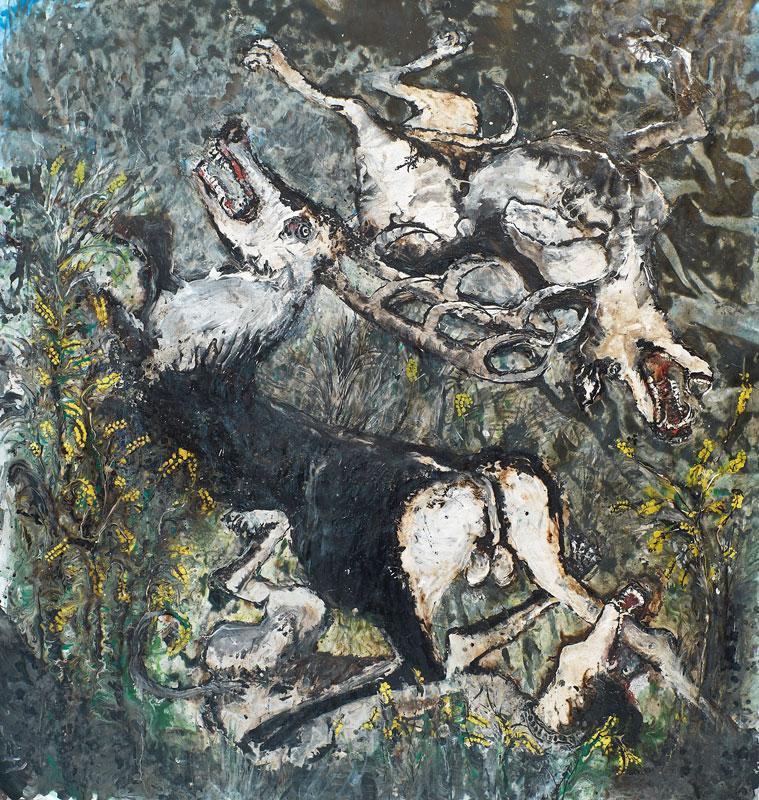 10 ans Flashback - Hommage à Stani Nitkowski : E. Renard. Scène de chasse. 2010, technique mixte sur toile, 170x190cm.