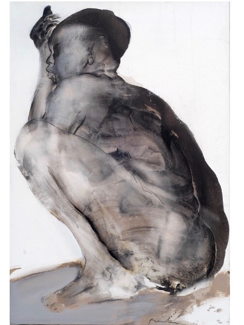 Franta. Humains : Rêveuse,2001 - Encre de Chine sur papie,r, 110x75 cm - Collection privée