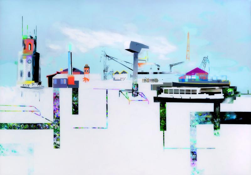 Peintres femmes : Muriel Rodolosse Forages de pensées, peinture sous Plexiglas, 140 x200cm, 2011, Collection privée