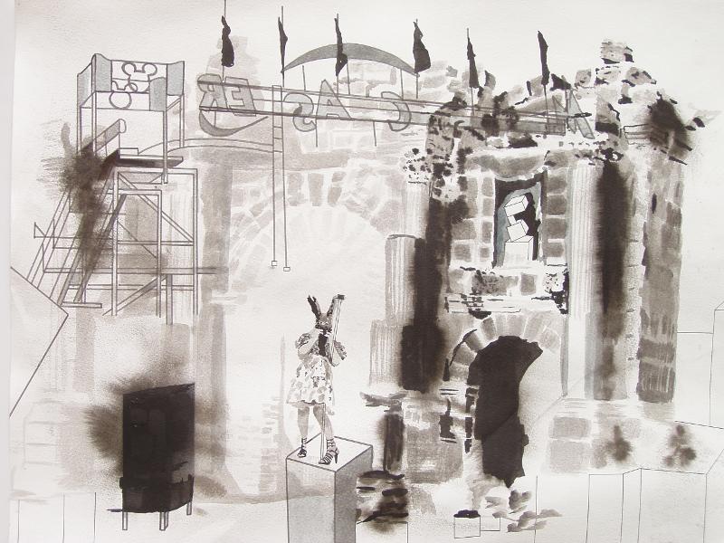 Peintres femmes : Muriel Rodolosse Le Park, encre de chine sur papier aquarelle, 42 x60cm, 2011,