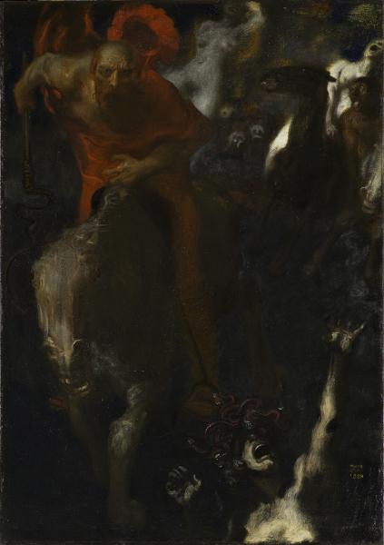 L'Ange du bizarre – le romantisme noir, de Goya à Max Ernst : Franz von Stuck (1863-1928) La Chasse sauvage, 1899 Huile sur toile, 95 x 67 cm Paris, musée d'Orsay, RF 1980 7 © Musée d'Orsay, dist. RMN / Patrice Schmidt