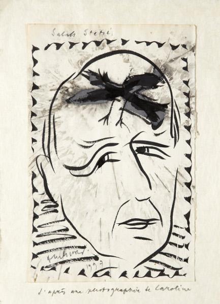 Salah Stétié et les peintres : Pierre Alechinsky – Portrait de Salah Stétié, 1997 – Encre sur papier 380 x 265 cm – Photographie Gabrielle Voinot – © ADAGP, Paris 2012