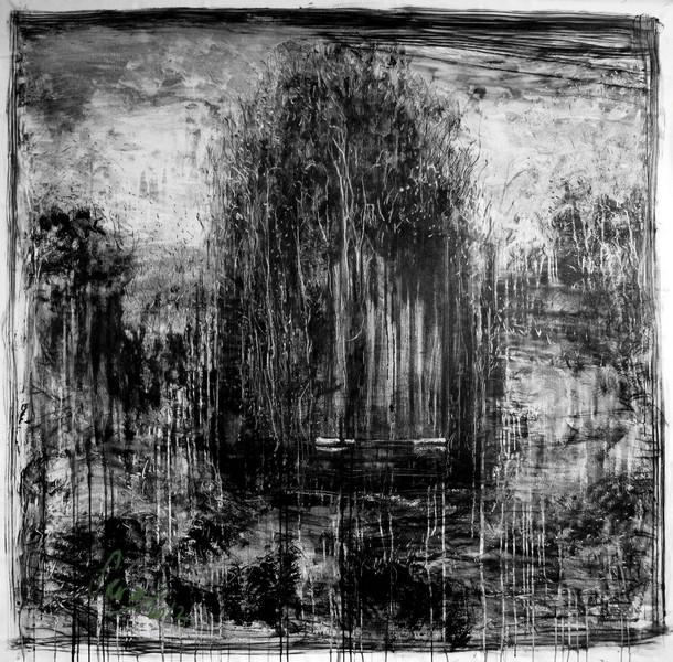 Séra : PRASAT IV. 2012, mine graphique acrylique sur toile, 150 x 150 cm.