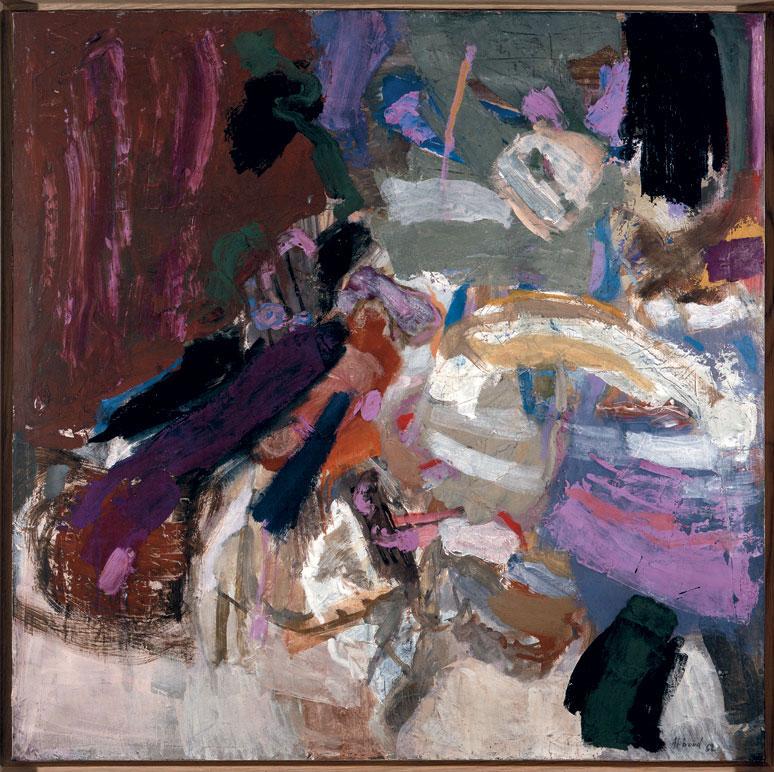 Shafic Abboud – Rétrospective/ Peintures 1948-2003 : Composition. 1962, Huile sur toile, 100 x 100 cm. Collection privée, Paris.  © ADAGP. Courtesy Succession Shafic Abboud, Paris.