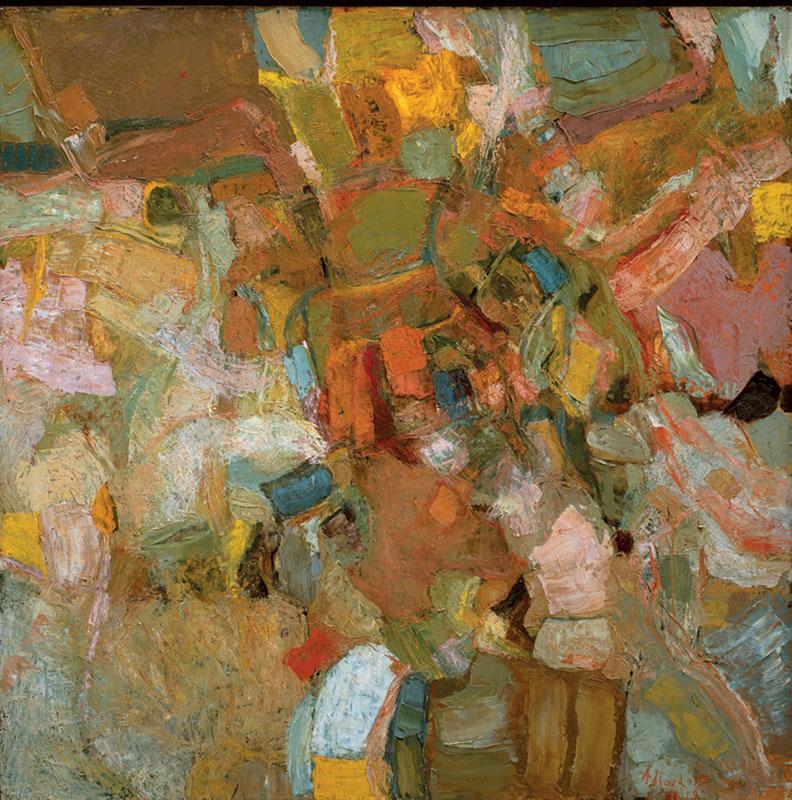 Shafic Abboud – Rétrospective/ Peintures 1948-2003 : Saison II, 1959. Huile sur panneau, 130 x 130 cm. Collection privée, Paris. © ADAGP. Courtesy Succession Shafic Abboud, Paris.